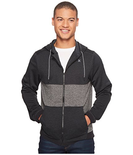 Hoody Zip Hurley - Hurley Men's Dri-Fit Dispersed Blocked Full-Zip Hoodie Black Medium
