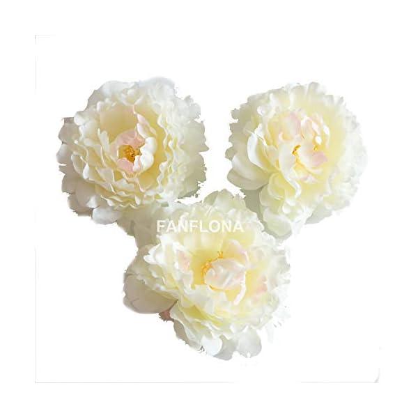 FANFLONA Wholesale Silk Flowers Artificial Peony Flower Heads 100 Bulk for Wedding Backdrop Centerpieces Cake Topper Decor (Ivory)