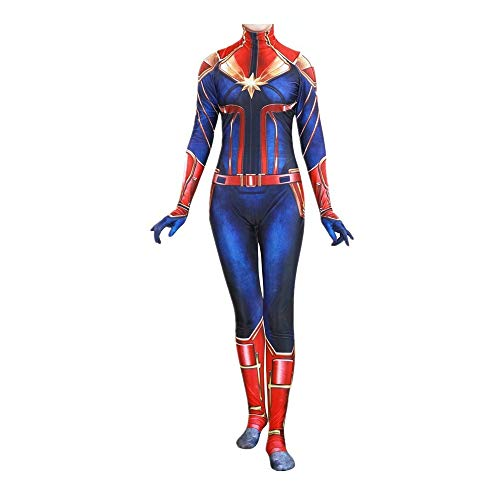 Captain Marvel Costume Kids and Adults Cosplay Costume 3D Printed Bodysuit Red ()