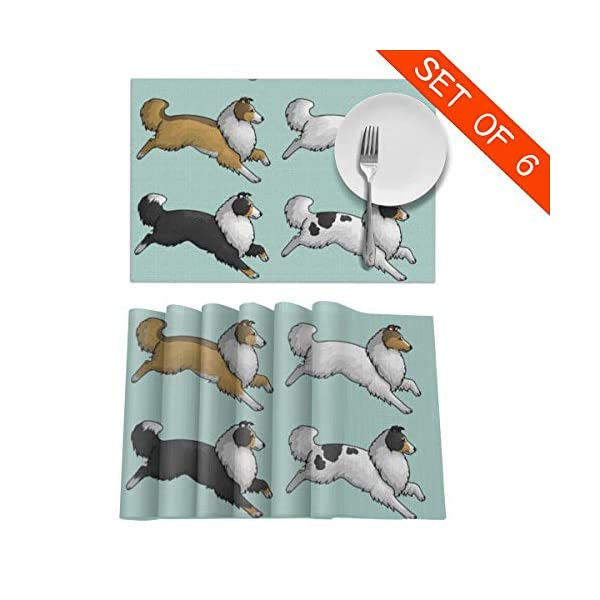 CYEfuzhuang Running Rough Collie Dog 6-Piece Set of Placemats Heat Resistant Table Place Mats Washable Kitchen Dinner 12 x 18 Inch 2