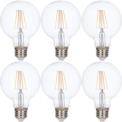 LED Edison Vintage Vanity Globe Filament G25 (G80) 4W Dimmable 40W Equivalent 120V Light Bulb for Bathroom Makeup Mirror by Simba Lighting, Medium E26 Base, UL Certified, Warm White 2700K, Pack of 6