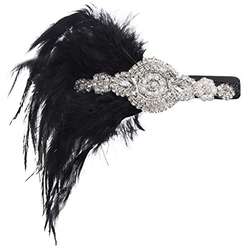 BABEYOND 1920s Flapper Headband 20s Great Gatsby Headpiece Black Feather Headband 1920s Flapper Gatsby Hair Accessories with -