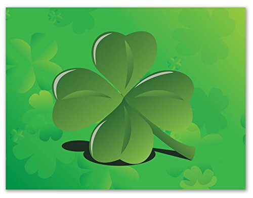 Good Luck Note Cards - Green Four Leaf Clover - St. Patrick's Day Greeting Cards with Envelopes - Blank on the Inside (24 Pack)