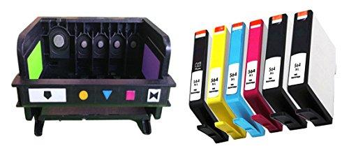 ESTON 1 PACK Printhead Replacement for 564 Printhead (5-slot) & 6 PACK (2BK 1PBK 1C 1M 1Y) 564XL High Yield Ink Cartridge by ESTON