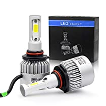 Jiuguang Pair LED Automobile Lamp Headlight Bulbs with Advanced LED COB Chips and All-in-One Conversion kit S2/8000LM/6500K H1 H4 H7 H11 H13 9005 9006 9007 3 Year Warranty (H13)