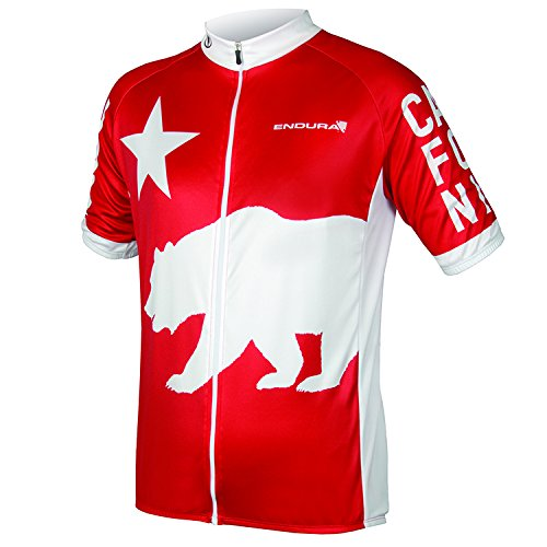 Endura California Full Zip Short Sleeve Cycling Jersey Medium レッド B072BQC4BD