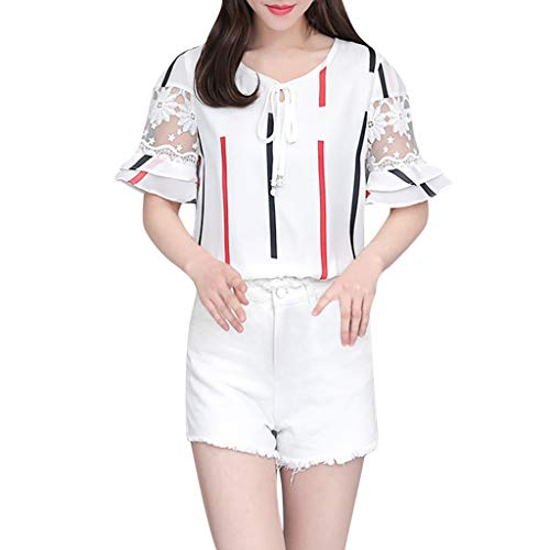 Ximandi Women's Squares Print Summer Lace Short Sleeve O-Neck Tunic Top Blouse Casual Korean Style Tops Red