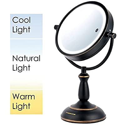 "Ovente 8.5"" Dual Sided SmartTouch LED Lighted Mirror with Timer, Cool, Warm, Daylight, Battery Operated"