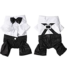 Ancdream Handsome Formal Dog Jumpsuit with Bow Tie Groom Tuxedo Pet Costumes