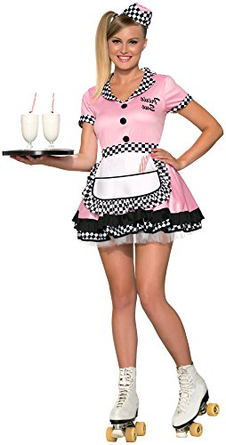 Forum Novelties Women's Trixie Sue 50's Diner Waitress Costume, Pink, Medium/Large