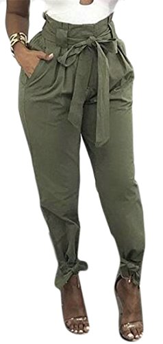 Cromoncent Womens Tie Bottom Solid Color High Waist Baggy Fit Belted Long Pants Army Green Medium