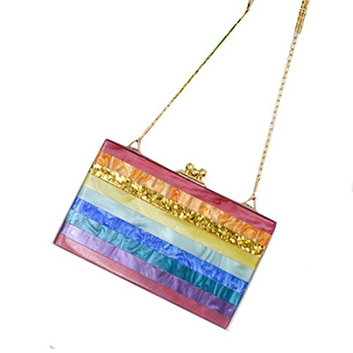 1 BeautyWJY Purse Clutches Evening Women for Ladies Fashionable Handbag Acrylic Gift Shoulder Ideal q6q7p