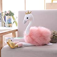 Read 30cm Swan Plush Toys Cute Flamingo Doll Stuffed Soft Animal Doll Ballet Swan with Crown Baby Kids Appease