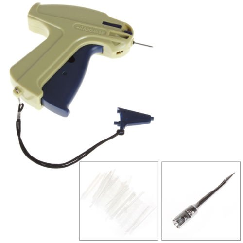 GoldenGadgets Standard Price Tag Label Gun Attacher for Attaching Fasteners to Regular Garments Clothing Includes 1000 x 2in Barbs Attachments, 1 Extra Needle Kit