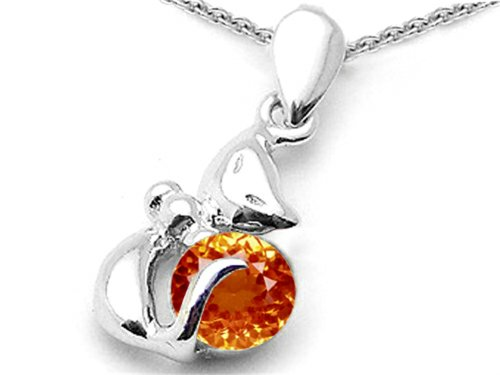 Star K Round 6mm Simulated Orange Mexican Fire Opal Cat Pendant Necklace Sterling Silver