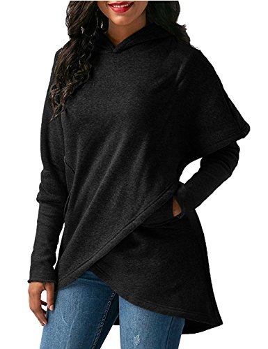 Yonala Womens Long Sleeve Irregular Hem Wrap Hoodie Sweatshirt Outwear Tops Blouse