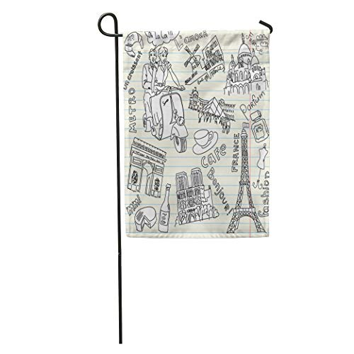 Semtomn Garden Flag Louvre Sightseeing in Paris Doodles Words French France Pyramid Girl Home Yard House Decor Barnner Outdoor Stand 12x18 Inches Flag