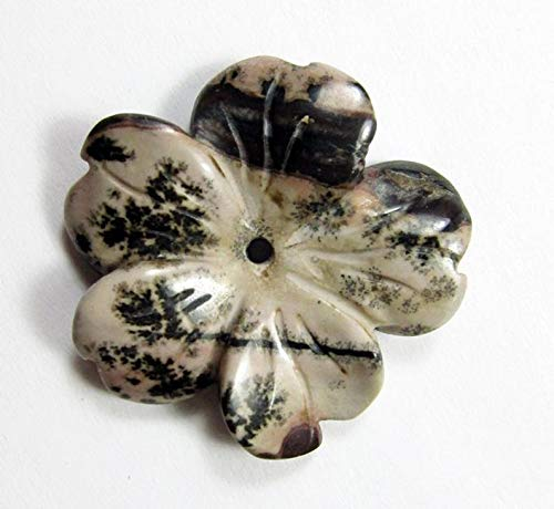 - Jewelry Making Supplies - 29mm Picture Jasper Flower Pendant Bead - Perfect and Stunning Beads