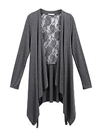 Women Open Front Lace Crochet Draped Cardigan Lightweight Knit Sweater w/ Belt
