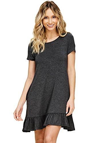 Annabelle Women's Mini Ruffled Hem Short Sleeve Side Pockets Round Neck Mini Dress Mid Grey Large ()