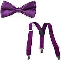 HDE Kid Boys Adjustable Y Back Clip Suspenders Matching Pre Tied Bowtie Set