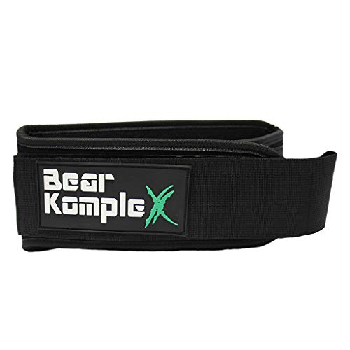 Bear KompleX 4'' Straight Weighlifting Belt for Powerlifting, Squats, Crossfit, Weight Training and More. Low Profile with Super Firm Back for Comfort (Black Patch Belt X-Large) by Bear KompleX (Image #2)