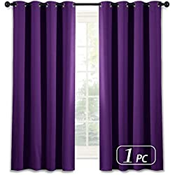 NICETOWN Blackout Blind Curtains for Windows - (Deep/Grape Purple Color) Home Fashion Thermal Insulated Room Darkening Drapery for Bedroom, 52W x 63L, Sold Individually