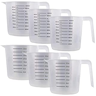 U.S. Kitchen Supply - 32 oz (1000 ml) Plastic Graduated Measuring Cups with Pitcher Handles (Pack of 6) - 4 Cup Capacity, Ounce and ML Cup Markings - Measure & Mix Recipe Ingredients, Flour, Water