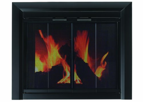 Glass Fireplace Screens (Pleasant Hearth CM-3012 Large Clairmont Fireplace Glass Door)