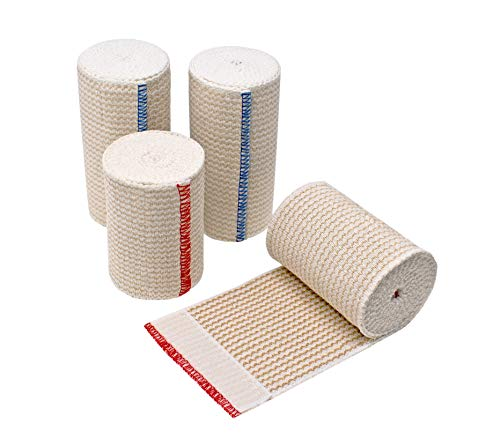 GT Lifetime American Cotton Elastic Bandage Set of Two 4 inch Wraps and Two 3 inch Wraps with Hook & Loop Closure On Both Ends
