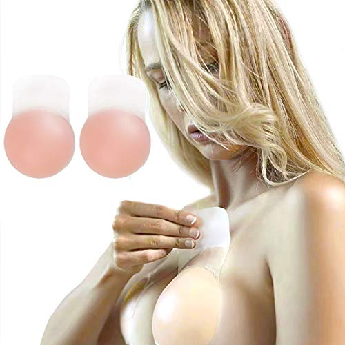 - Women Breast Petals Lift Nipplecovers Strapless Backless Bra Adhesive Wedding Dress Bras Beige Round