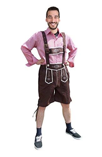Dirndl World Mens Shorts, Lederhose, Trousers with Shirt, Oktoberfest Outfit, Size: XL, Omh02