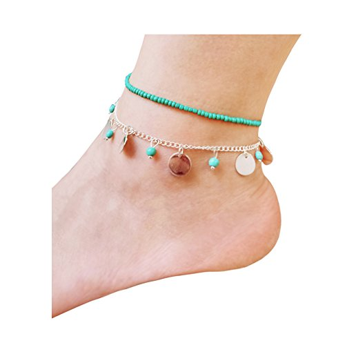 Shoopic Layered Disc Anklet Charm Bead Beach Coin Foot Chain Bohemia Anklet for (Tone Beaded Disc)