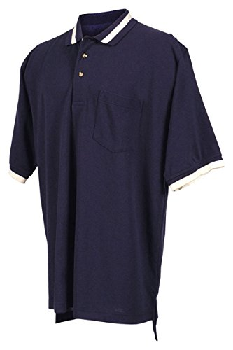 Tri Mountain 60 40 Pique Pocketed Golf Shirt With Trim    Navy   Ivory   Xxx Large