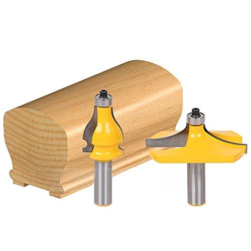 HOEN 2 Bits Handrail Router Bit Set - Standard/Flute Molding Cutter - 1/2'' (Molding 2 Flute)