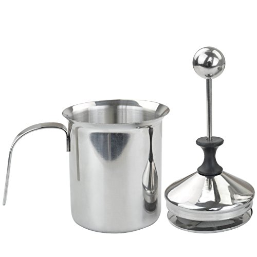 800ml Milk Frother, Marrywindix Stainless Steel Milk Frother Double Mesh Manual Milk Creamer Milk Foam (800ml Container Capacity with 500ml Foam Each Time) (Light Milk Almond)