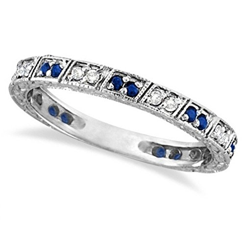 Blue Sapphire and Diamond Filigree Ring Anniversary Band 14k White Gold