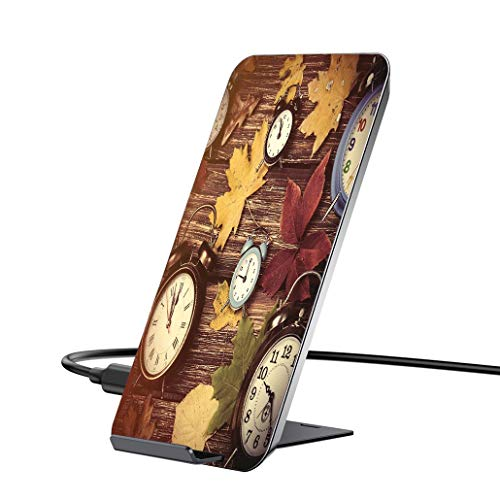 10W wireless charger and QI wireless receiver,Fall Decor,Different Colored Dry Maple Leaves Various Alarm Clocks on Wooden Planks Print dock compatible with iPhone6   / 6PLUS / 6S / 6SPLUS / 7 / 7PLUS (Dock Clock Alarm Iphone6)