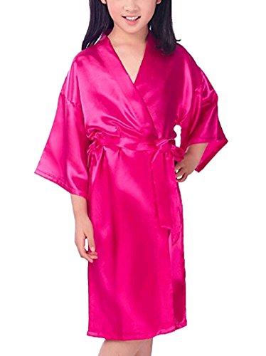 Zaaale Kids Girls Satin Silk Kimono Robe Bathrobe Nightgown Bridesmaid Sleepwear for Spa Party Wedding Birthday (Tag 10(for 115-130cm Kid Girl), Rose red)]()