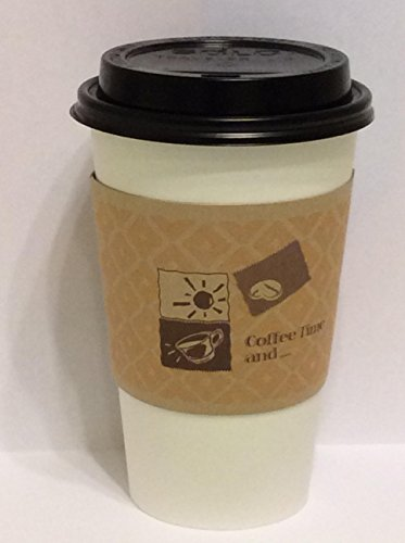 16 Oz. White Hot paper Coffee Cups With Lids And Sleeves -Decony coffe set- 50 sets.
