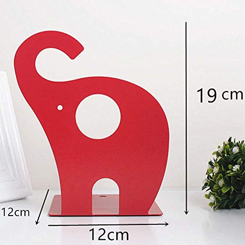 BALUZ Metal Bookends Cute Cartoon Elephant Shape Nonskid for Kids Children Library School Office Study Gift 1 Pair by BALUZ (Image #2)