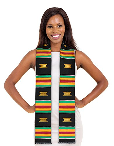 ADVANSYNC Kente Cloth Graduation Stole Black, Red or Purple and Our Daily Bread Book (New Beautiful ()