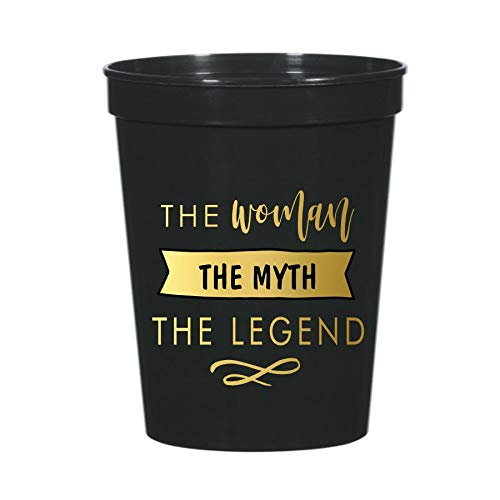The Woman The Myth The Legend, Set of 10 Plastic Stadium Cups for Her, Funny Birthday Decorations for Her, Birthday for Her, Gag Birthday or Retirement Party