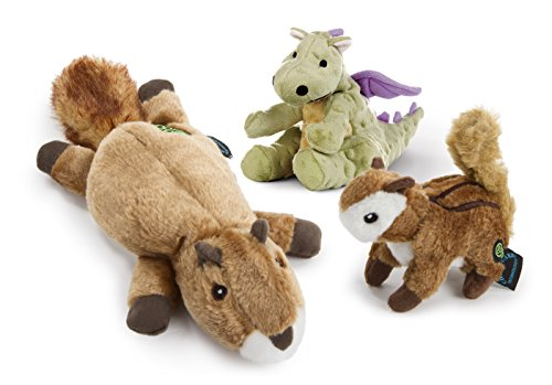 goDog 3Count Flatz Squirrel Plush Toy, Wildlife Chipmunk Plush Toy & Dragon Plush Toy for Dogs