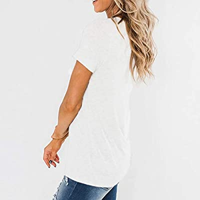 Sovelen Womens V Neck Short Sleeves Casual Loose T Shirts Plain Basic Tops Blouse Tees with Pockets at Women's Clothing store