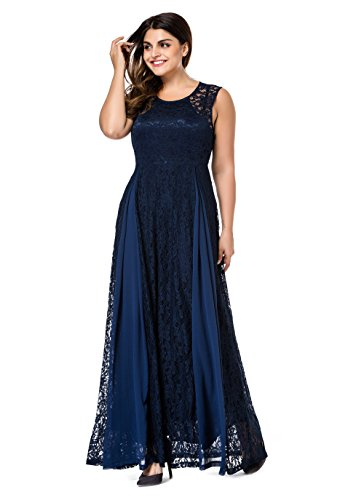 Esprlia Women's Plus Size Lace Sleeveless Evening Party Formal Maxi Dress (4X, Blue)
