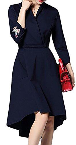 collo Vestito Manicotto V Sportiva Irregolare Da Scuro Bordo Blu Chiarore Donna 3 Del Partito 4 Cruiize W1cFtyEH