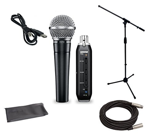 (Shure SM58 USB Microphone Bundle with X2U XLR-to-USB Audio Interface, MIC Boom Stand and XLR Cable)