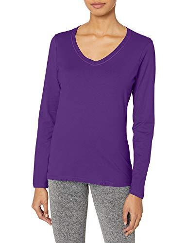 Hanes Women's V-Neck Long Sleeve Tee, Violet Splendor, Large