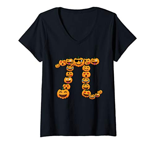 Womens Pumpkin Emoji Funny Math Nerd/Lover Halloween Gift Costume V-Neck T-Shirt -